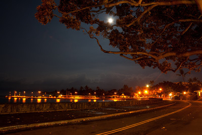 Kailua-Kona seawall at night