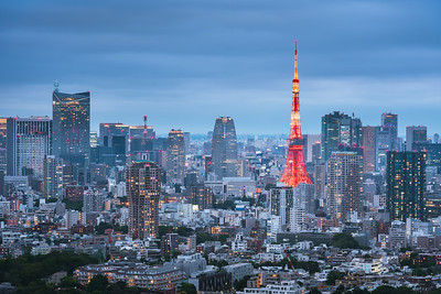 Tokyo Tower and Urban Skyline at dusk