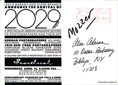 Leslie Barany & Diane Brandis' 2029 Magazine Presentation at Heartbreak, NYC, 1987 - Invite Side 2