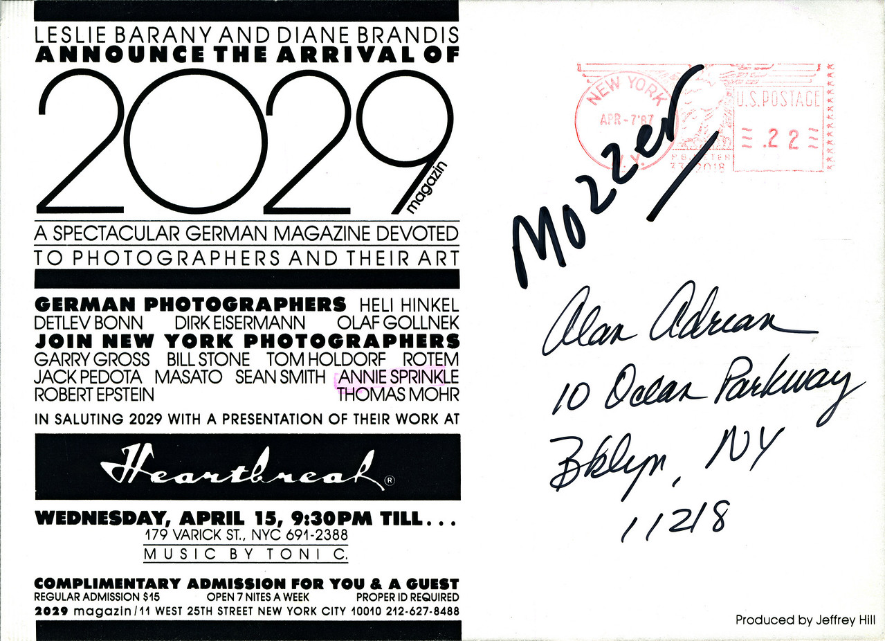 Leslie Barany & Diane Brandis' 2029 Magazine Presentation at Heartbreak, NYC, 1987 - Invite Side 2