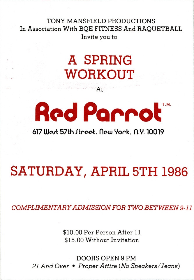 A Spring Workout at Red Parrot, NYC, 1986 - Invite Side 2