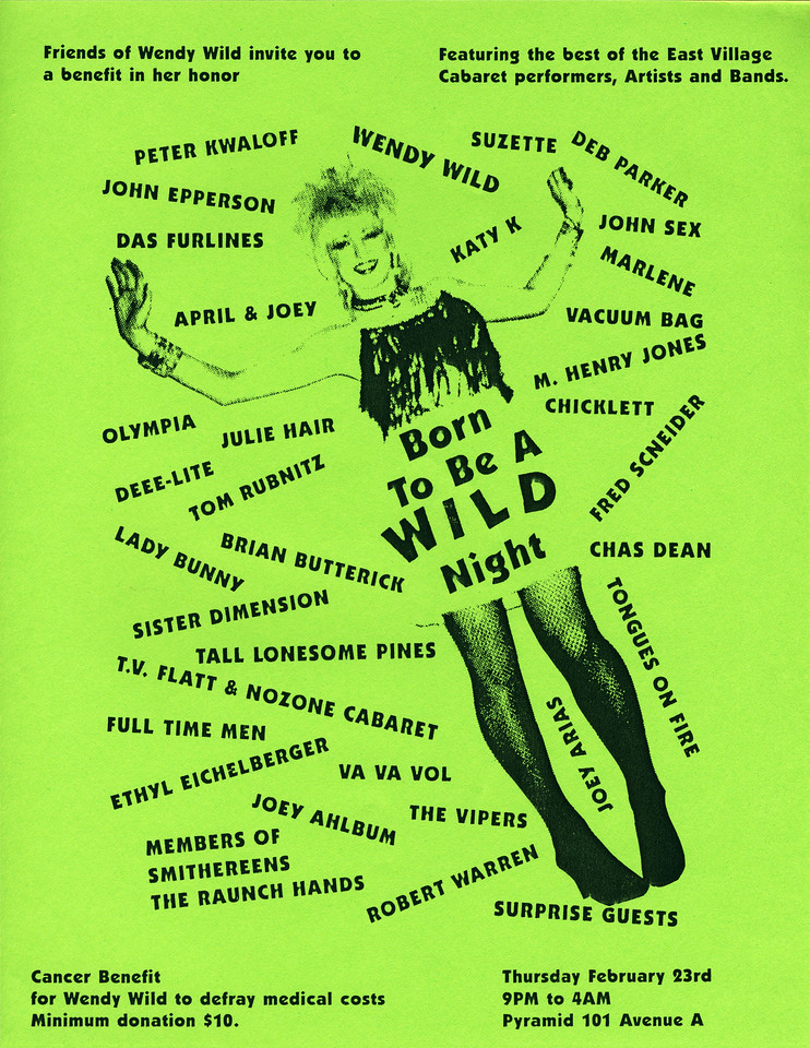 Born To Be A WILD Night, Cancer Benefit for Wendy Wild, at Pyramid, NYC, 1989 - Flyer