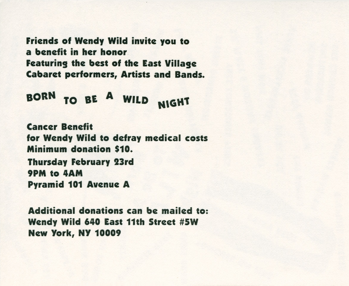 Born To Be A WILD Night, Cancer Benefit for Wendy Wild, at Pyramid, NYC, 1989 - Invite Side 2