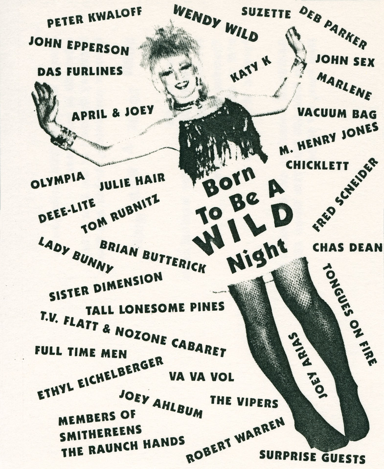 Born To Be A WILD Night, Cancer Benefit for Wendy Wild, at Pyramid, NYC, 1989 - Invite Side 1