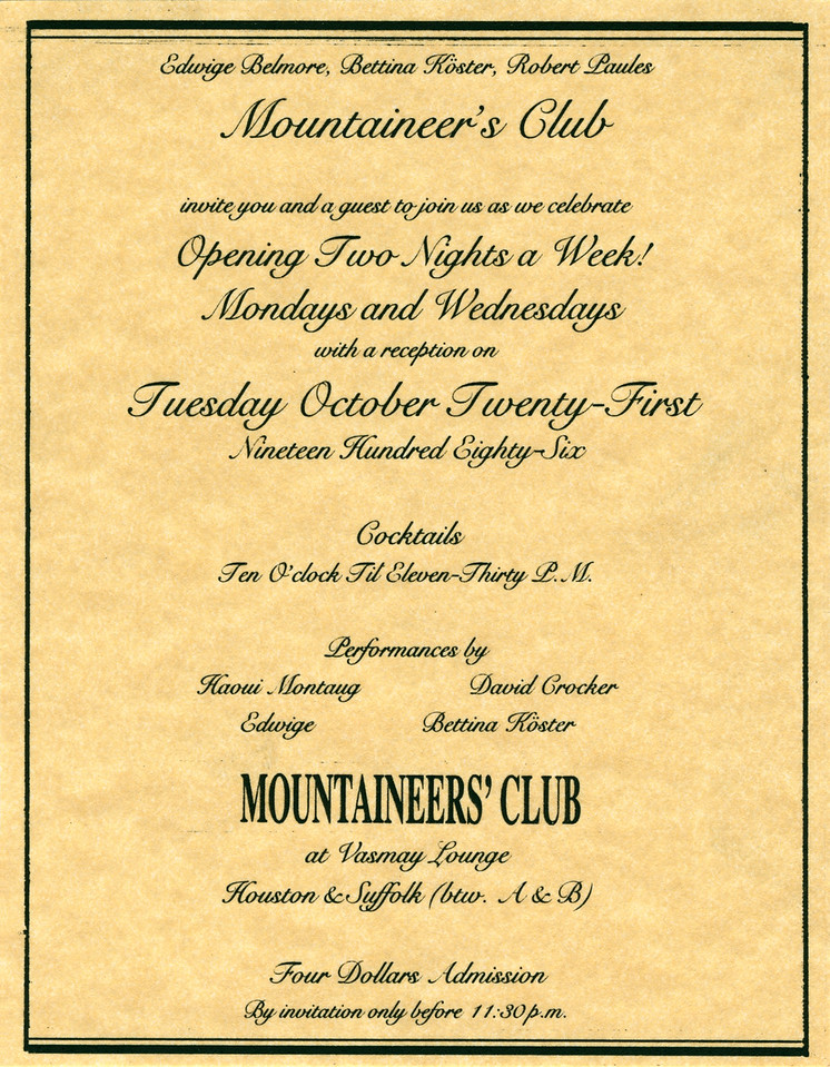 Mountaineer's Club at Vasmay Lounge, NYC, 1986 - Invite