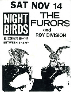 The Furors and Roy Division at Nightbirds, NYC, 1987 - Flyer