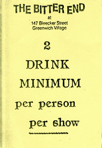 2 Drink Minimum Card at the Bitter End, NYC, 1986