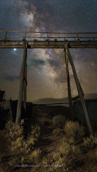 Bodie Stamp Mill Trestle and Milky Way