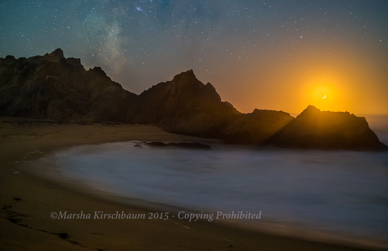 Moonset and the Milky Way-McClures Beach