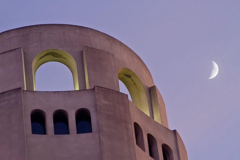 Coit Tower and moon at twilight