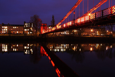 South Portland Street Bridge at night with Carlton Place in the background.
