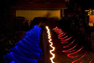 Light ribbons down the driveway