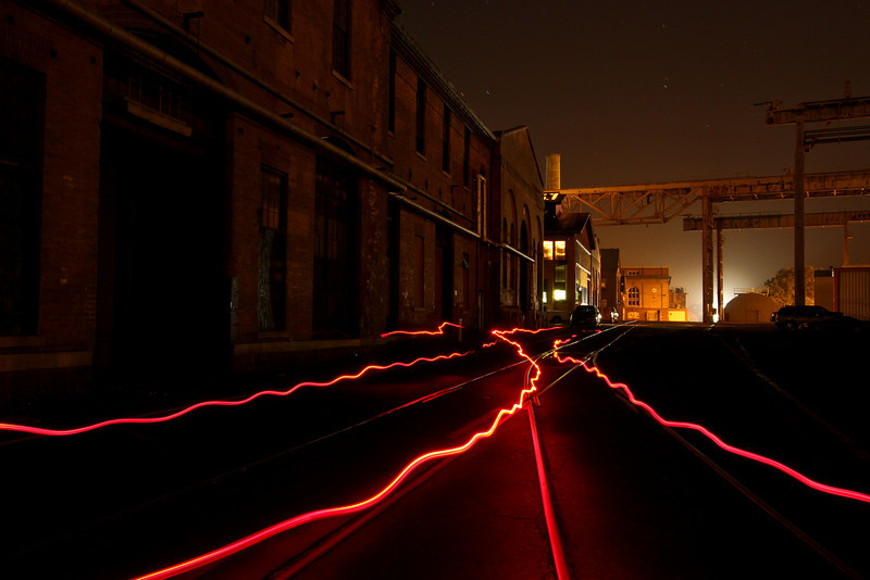 Light painted tracks and buildings on Mare Island
