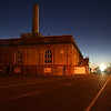 Buildings on Mare Island at night