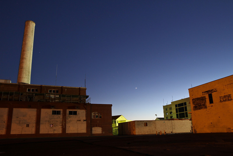 Buildings on Mare Island at night (and Venus).