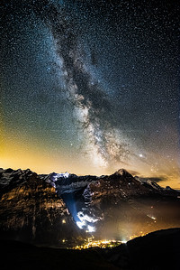 Milky way over Eiger and Grindelwald Vertical