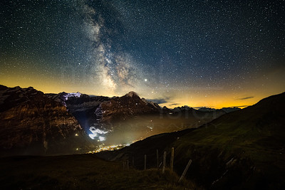 Milky way over Eiger and Grindelwald