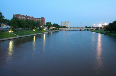 Arkansas River at twilight, Wichita, Kansas.