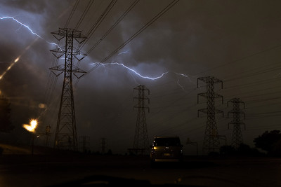 Lightning behind the power lines in Fremont.