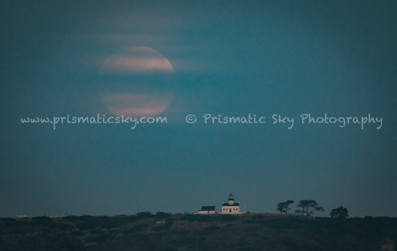 Moonset over Cabrillo Lighthouse