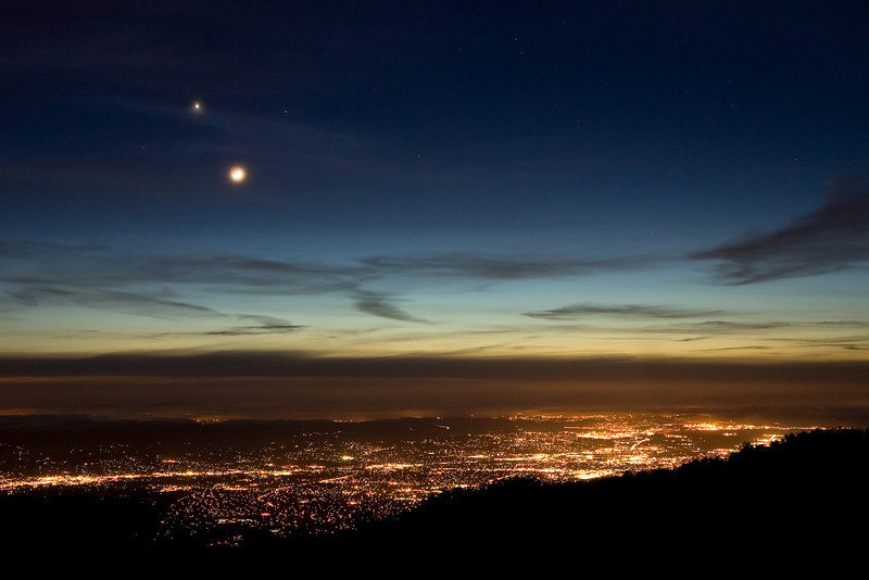 Venus and moon over lights of Pleasant Hill & Martinez