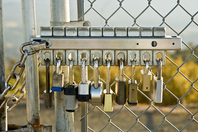Many padlocks at top of Mt. Diablo