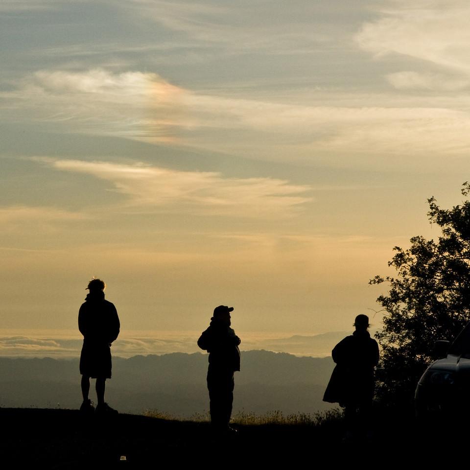 Silhouettes and sun dog on Mt. Diablo