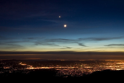 Venus and moon over lights of Walnut Creek and Pleasant Hill