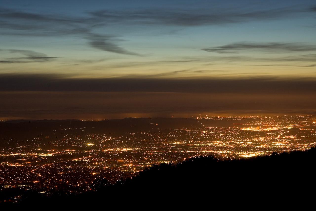 Walnut Creek and Pleasant Hill lights at twilight from Mt. Diablo.