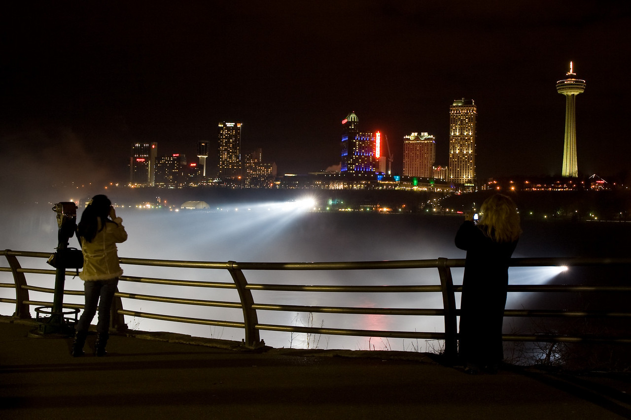 Photographers at Niagara Falls at night