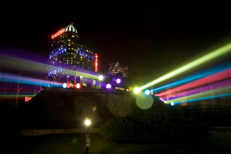 Powerful lights used to add color to Niagara Falls at night, Canadian side