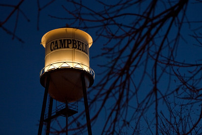 Campbell water tower at twilight.