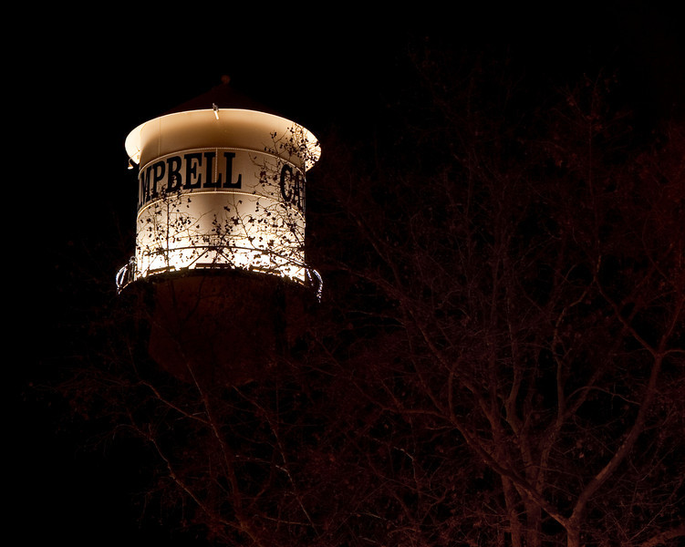 Campbell water tower at night