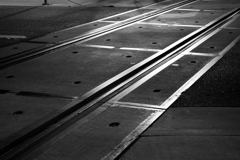 VTA light rail tracks at night