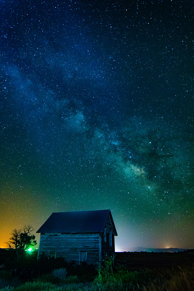 Old house under the Milky Way, June 21, 2017