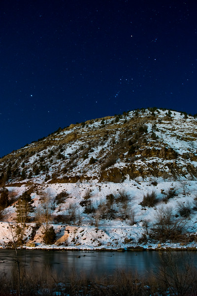 Winter night along the Animas River