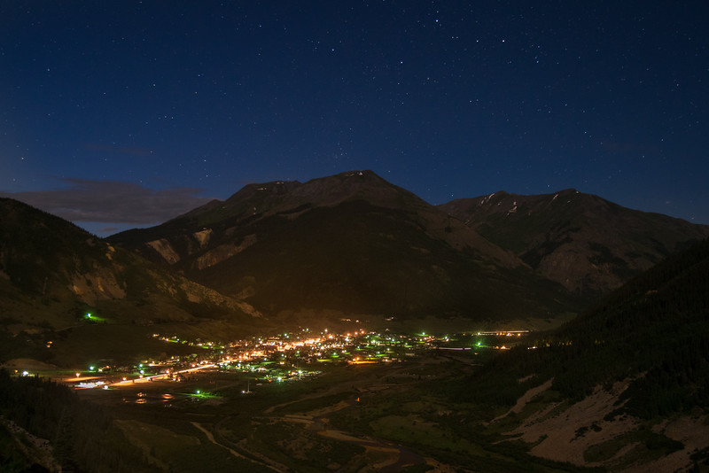 Warm summer night under a nearly-full moon in Silverton, Colorado