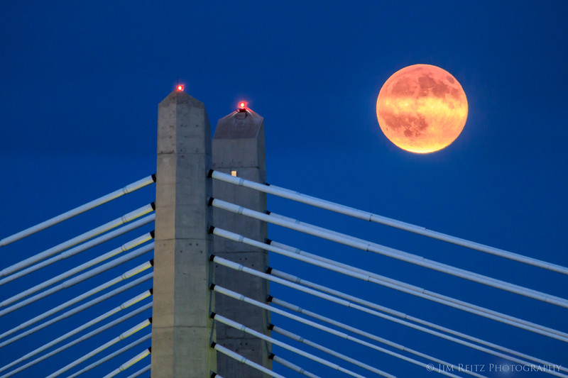 Full moon rising over Portland's Tillicum Crossing bridge.