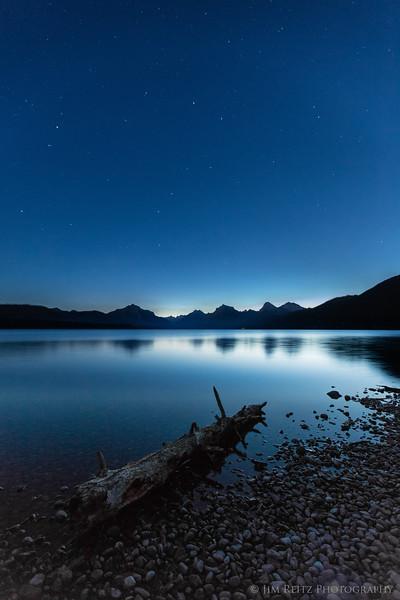 Stars over Lake McDonald before dawn, Glacier National Park