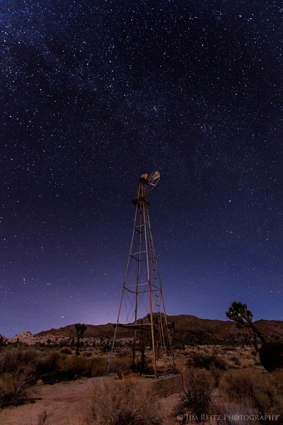 The abandoned Desert Queen Well windmill & pump at night - Joshua Tree National Park