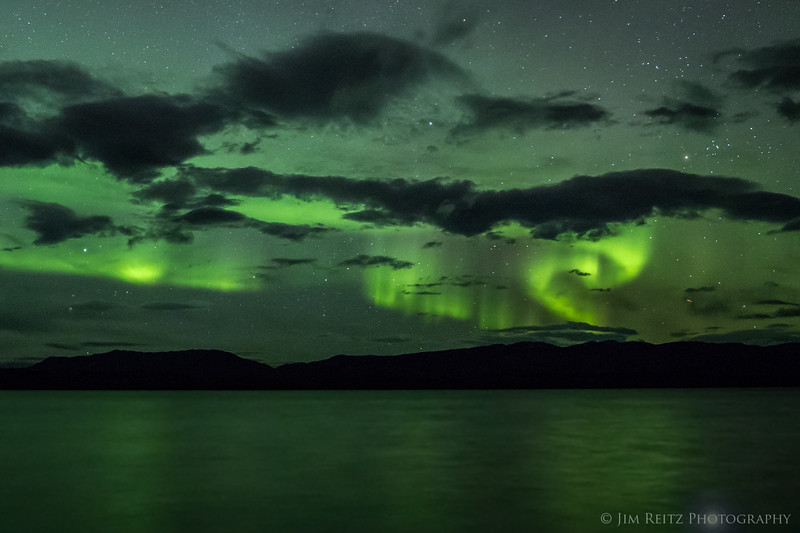 Aurora north of Whitehorse, Yukon. View over Lake Laberge, which is a wide part of the Yukon River.