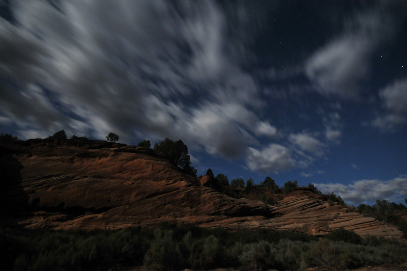 Passing time in Angel Canyon at night.