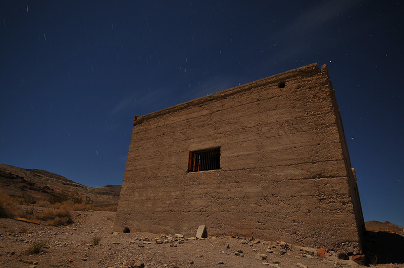 The jail in Rhyolite, NV with a bit of light painting on the bars.