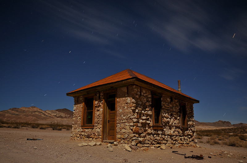A small house/shack in Rhyolite, NV. Amazingly, the glass is intact in all of the windows.