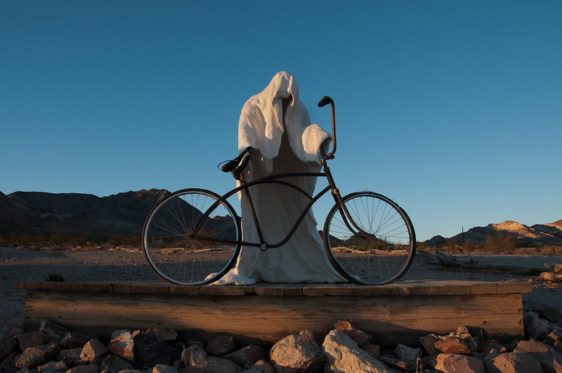 "A ""ghost"" about to go for a ride. This is from an art display just outside of Rhyolite, NV."