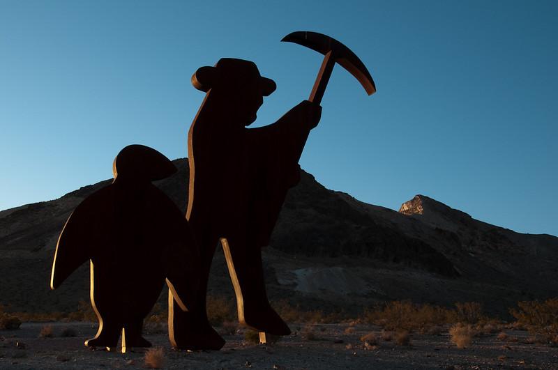 Miner sculpture in Rhyolite, CA