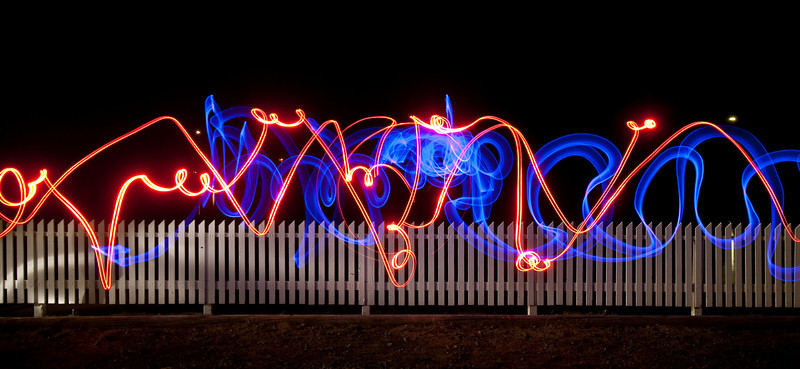 Light painting by fence at Pt. Reyes