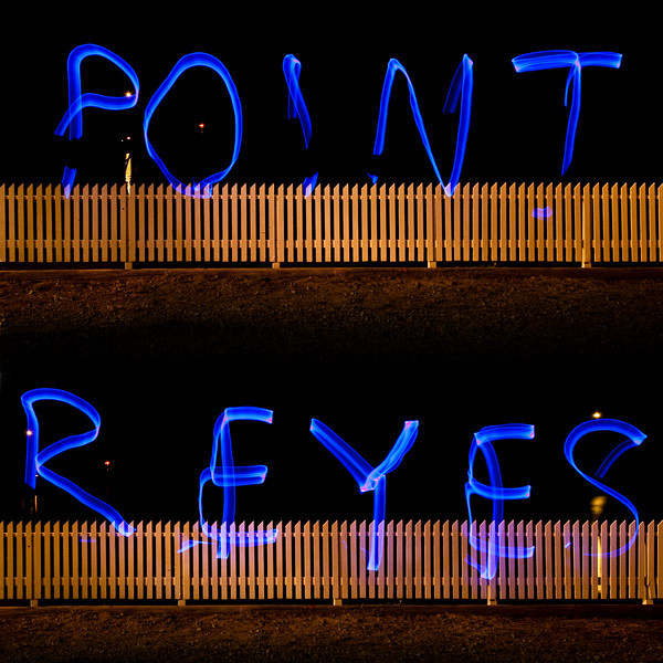 """Light painting """"Point"""" and """"Reyes."""" Two shots combined."""