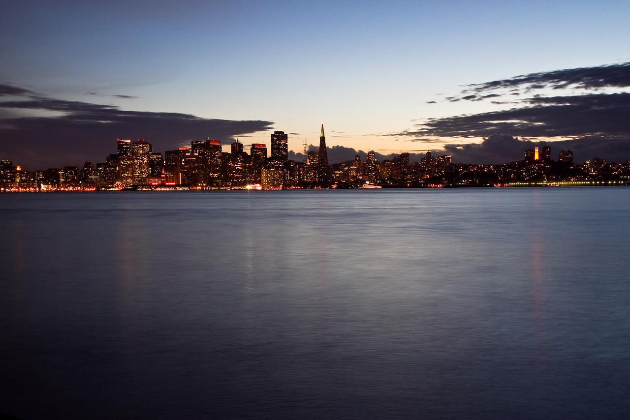 San Francisco at twilight from Treasure Island