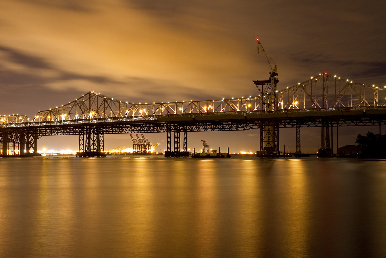 Construction of new eastern span of Bay Bridge at night from Treasure Island